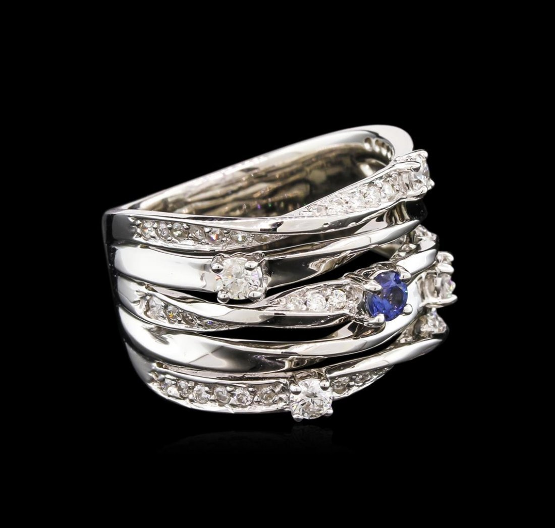 0.18ct Blue Sapphire and Diamond Ring - 14KT White Gold