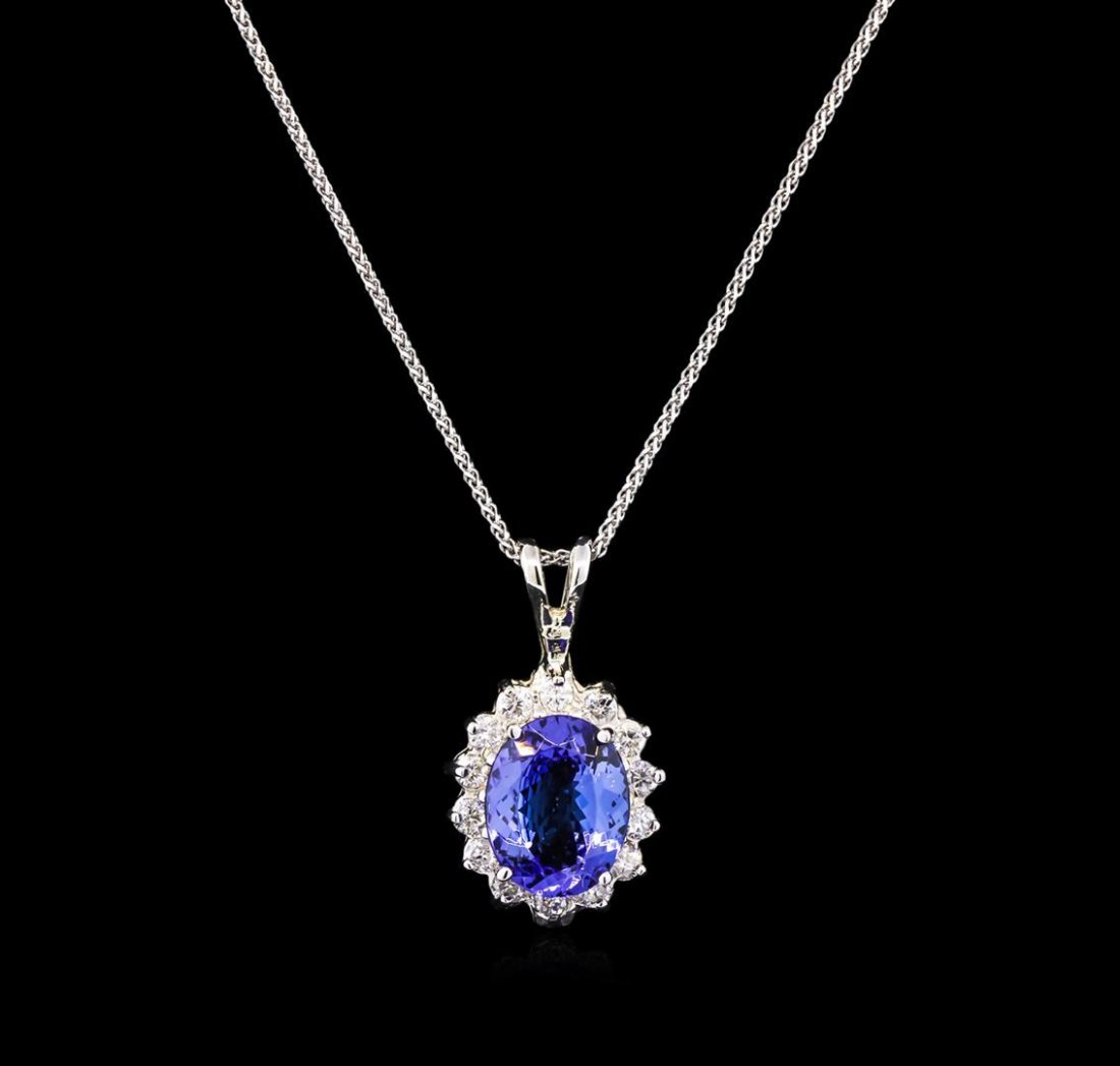3.00ct Tanzanite and Diamond Pendant With Chain - 14KT