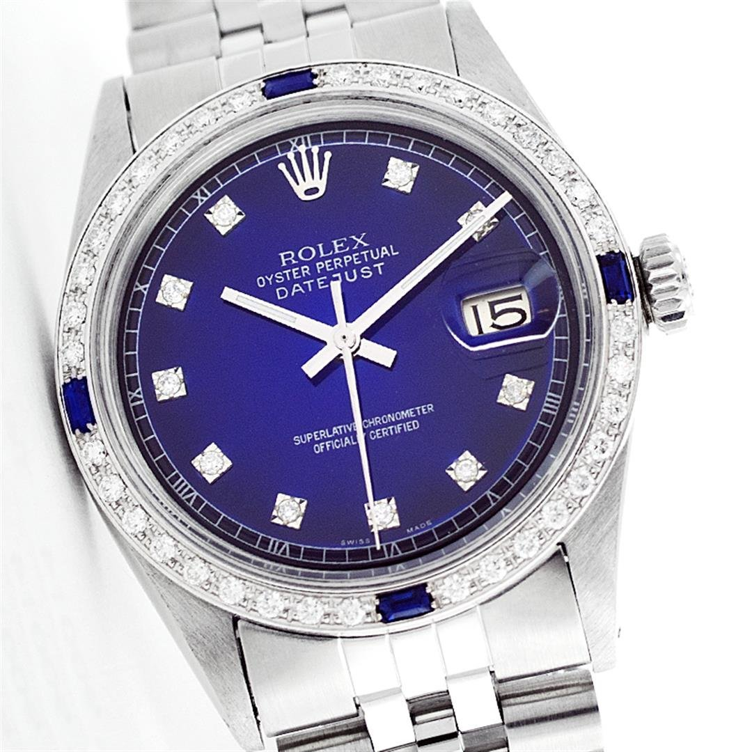 Rolex Stainless Steel Diamond and Sapphire DateJust