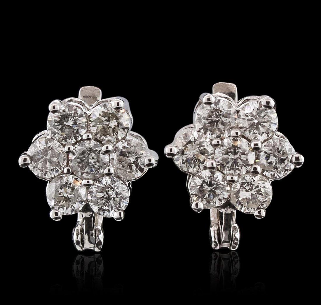 14KT White Gold 3.04ctw Diamond Earrings