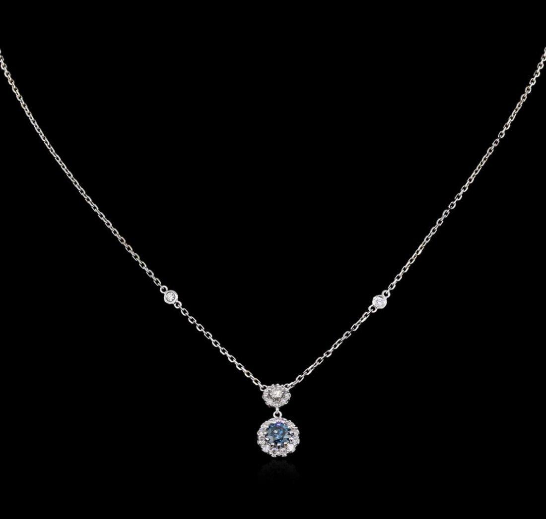 0.96ctw Black Diamond Necklace - 14KT White Gold