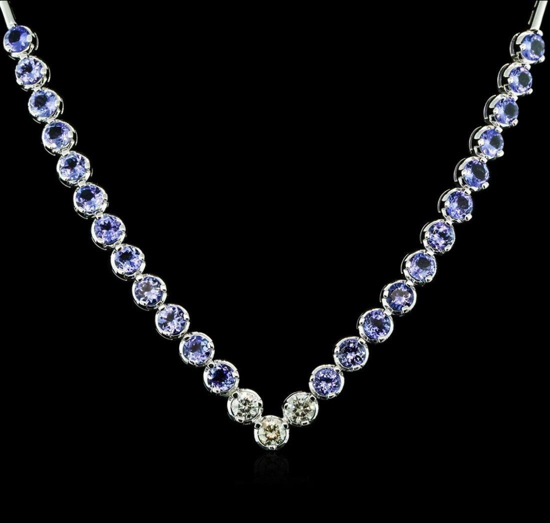14KT White Gold 16.08ctw Tanzanite and Diamond Necklace