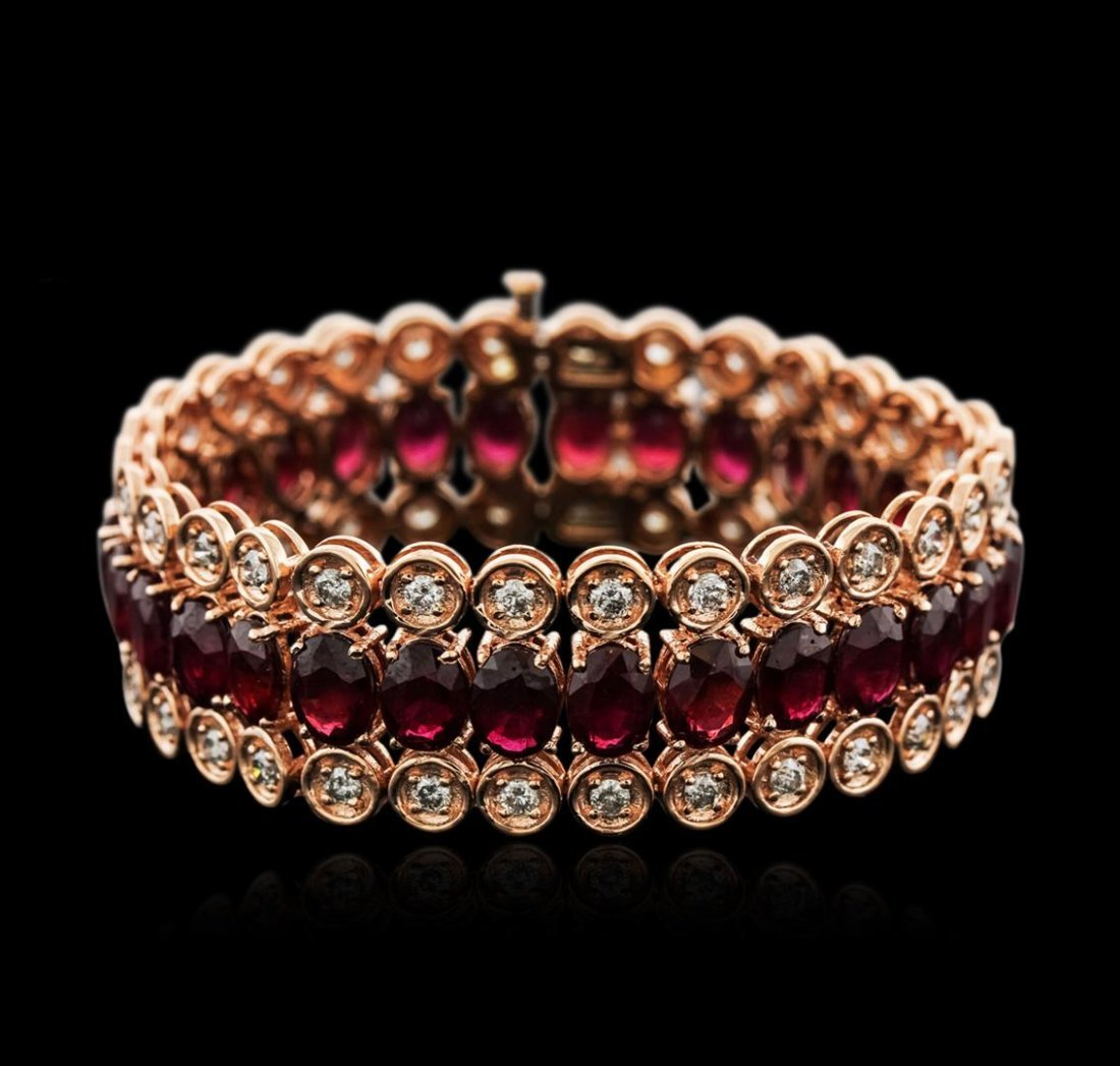14KT Rose Gold 44.70ctw Ruby and Diamond Bracelet
