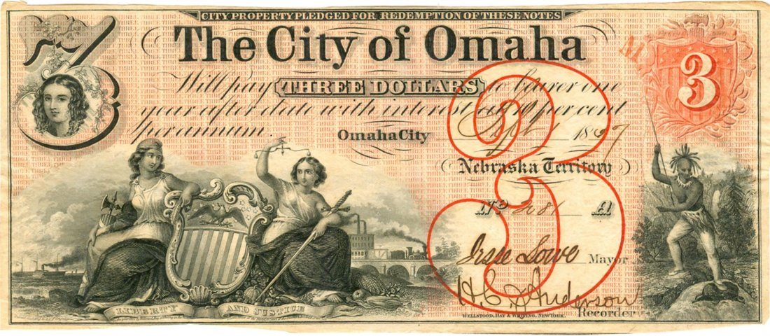 Omaha Nebraska The City of Omaha $3 Note