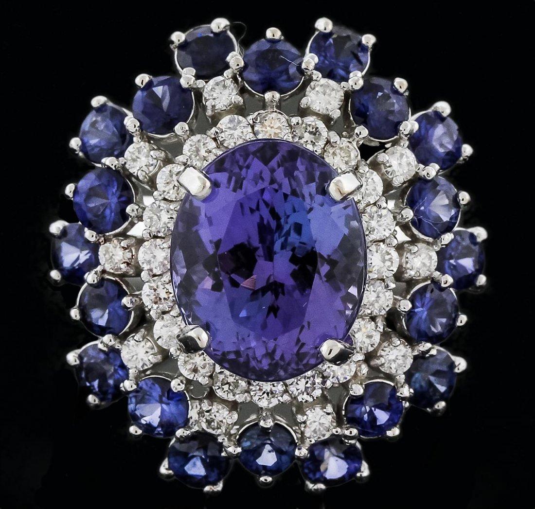 14KT White Gold 4.93ct Tanzanite, Sapphire and Diamond
