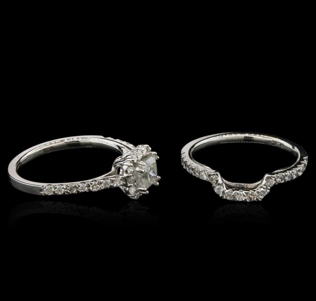 1.36ctw Diamond Wedding Ring Set - 14KT White Gold