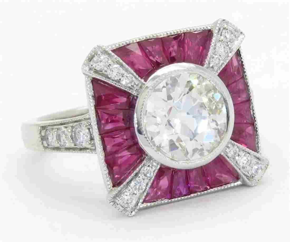 1.75ctw Diamond and Ruby Ring - 18KT White Gold