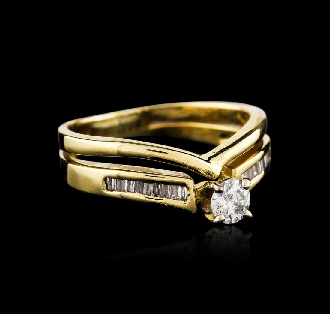 14KT Yellow Gold 0.34ctw Diamond Wedding Ring Set