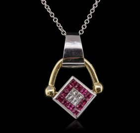 14kt Two-tone Gold 0.86ct Ruby, Sapphire And Diamond
