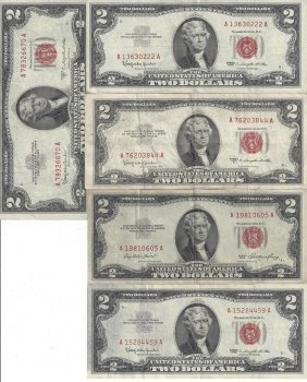 Lot Of 10 Assorted United States Red Seal $2 Bills