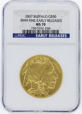 2007 Ngc Ms70 Early Release American Buffalo .9999 Fine