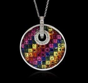 14kt White Gold 8.62ctw Multicolor Sapphire And Diamond