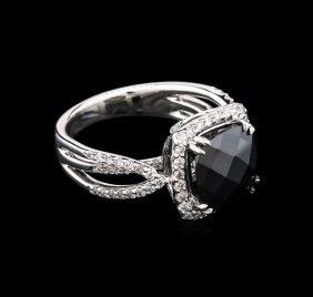 5.50ct Black Onyx And Diamond Ring - 18kt White Gold