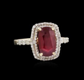 2.88ct Ruby And Diamond Ring - 14kt Yellow Gold