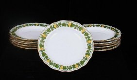 Meissen Gilt Garland Of Grapes Porcelain Set Of 11