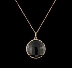 15.00ct Smokey Quartz And Diamond Pendant With Chain -