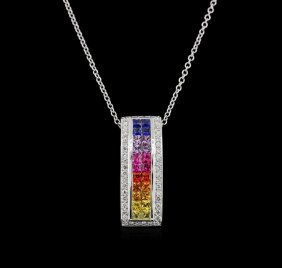 2.06ctw Multi Sapphire And Diamond Pendant With Chain -