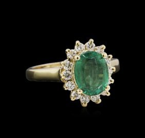 2.16ct Emerald And Diamond Ring - 14kt Yellow Gold