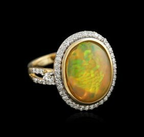 14kt Yellow Gold 5.61ct Opal And Diamond Ring