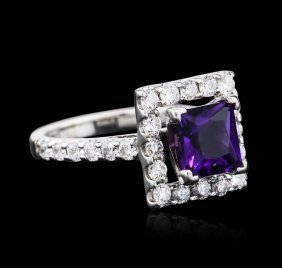14kt White Gold 2.00ct Amethyst And Diamond Ring