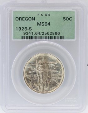 1926-s Pcgs Ms64 Oregon Commemorative Silver Half