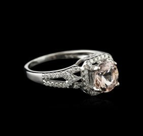 14kt White Gold 1.10ct Morganite And Diamond Ring