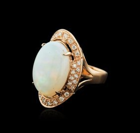 14kt Rose Gold 11.59ct Opal And Diamond Ring