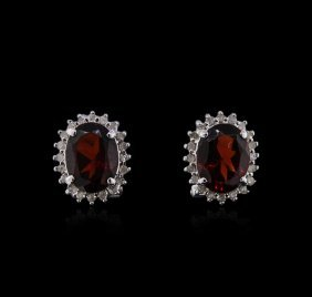 14kt White Gold 4.30ctw Garnet And Diamond Earrings