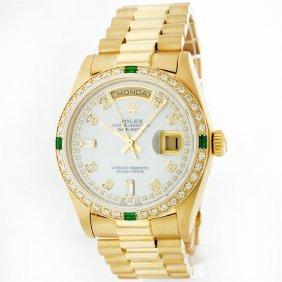 Rolex President 18KT Gold 1.00ctw Diamond And Emerald