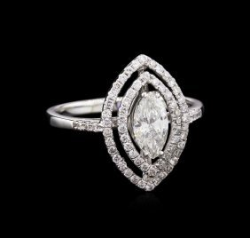 Egl Int Certified 0.98ctw Diamond Ring - 18kt White