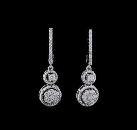0.70ctw Diamond Earrings - 14kt White Gold