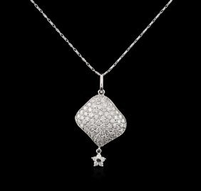 14kt White Gold 0.69ctw Diamond Pendant With Chain