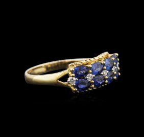 10kt Yellow Gold 1.85ctw Blue Sapphire And Diamond Ring