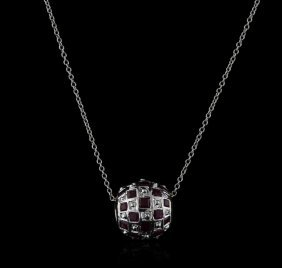14kt White Gold 3.50ctw Ruby Pendant With Chain