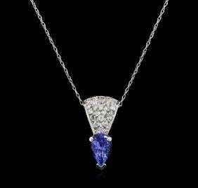 14kt White Gold 0.92ct Tanzanite And Diamond Pendant