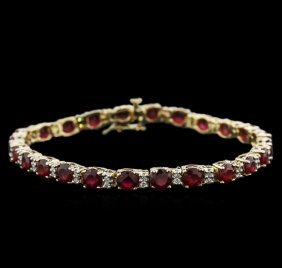 14.70ctw Ruby And Diamond Bracelet - 14kt Yellow Gold
