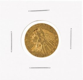 1910 $5 Xf Indian Head Half Eagle Gold Coin