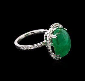 7.07ct Emerald And Diamond Ring - 14kt White Gold