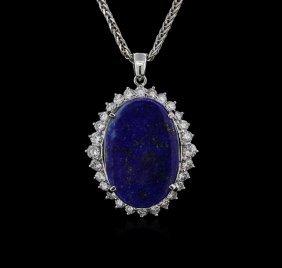 14kt White Gold 12.29ct Lapis Lazuli And Diamond