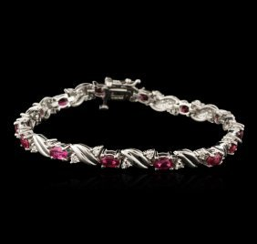 14kt White Gold 4.92ctw Ruby And Diamond Bracelet