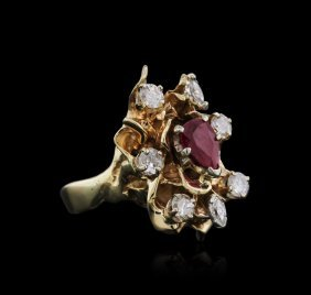 14kt Yellow Gold 1.00ct Ruby And Diamond Ring