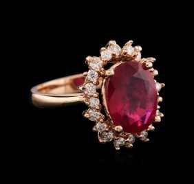 14kt Rose Gold 5.17ct Ruby And Diamond Ring