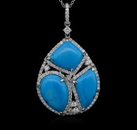 Turquoise And Diamond Pendant - 14kt White Gold