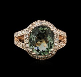 3.90ct Tourmaline And Diamond Ring - 14kt Rose Gold
