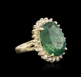 14kt Yellow Gold 9.11ct Emerald And Diamond Ring