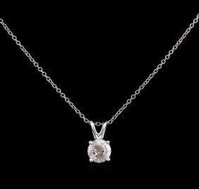 0.70ct Diamond Pendant With Chain - 14kt White Gold