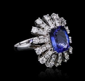 14kt White Gold 4.46ct Tanzanite And Diamond Ring