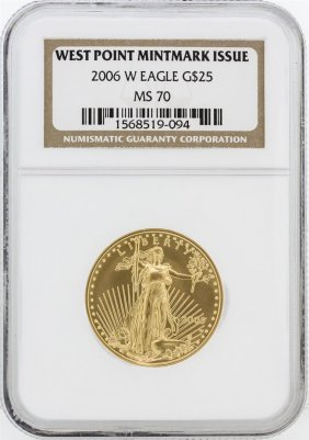 2006-w Ngc Ms70 $25 West Point Mintmark Issue American