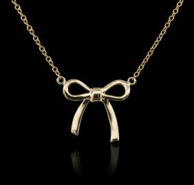 14kt Yellow Gold 0.05ctw Diamond Bow Necklace