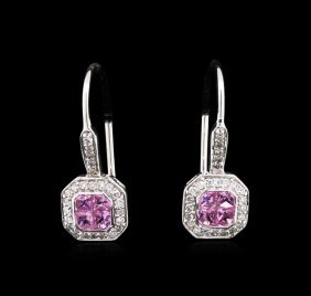 0.76ctw Pink Sapphire And Diamond Earrings - 14kt White